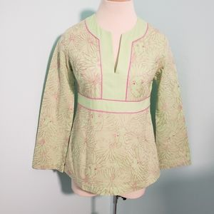 Lilly Pulitzer enbroidery blouse, green/pink, XS
